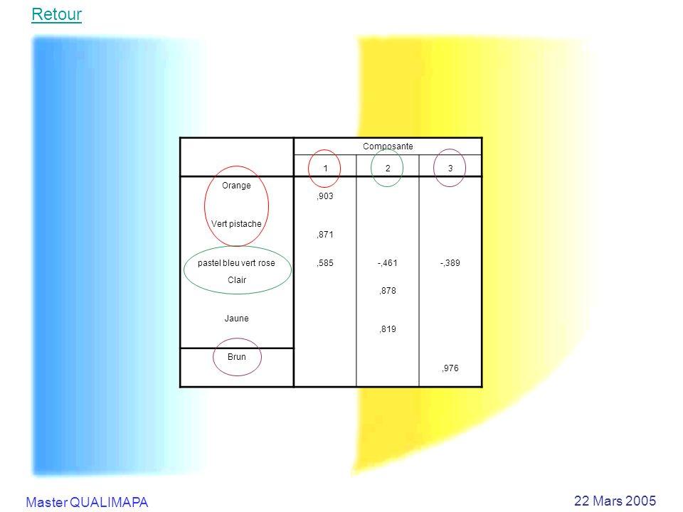 Master QUALIMAPA 22 Mars 2005 Composante 123 Orange,903 Vert pistache,871 pastel bleu vert rose,585-,461-,389 Clair,878 Jaune,819 Brun,976 Retour