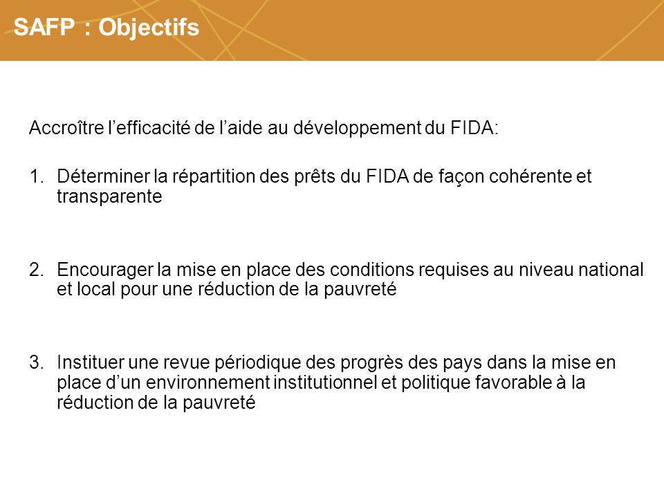 Farmers organizations, policies and markets SAFP : Objectifs Accroître lefficacité de laide au développement du FIDA: 1.Déterminer la répartition des