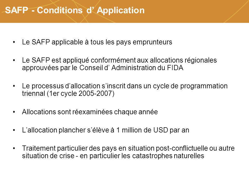 Farmers organizations, policies and markets SAFP - Conditions d Application Le SAFP applicable à tous les pays emprunteurs Le SAFP est appliqué confor
