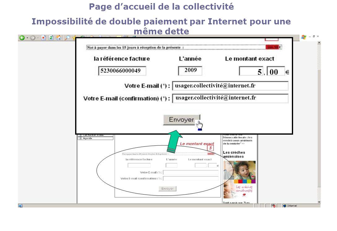 Page daccueil de la collectivité Impossibilité de double paiement par Internet pour une même dette 5230066000049 2009 500 usager.collectivité@internet.fr