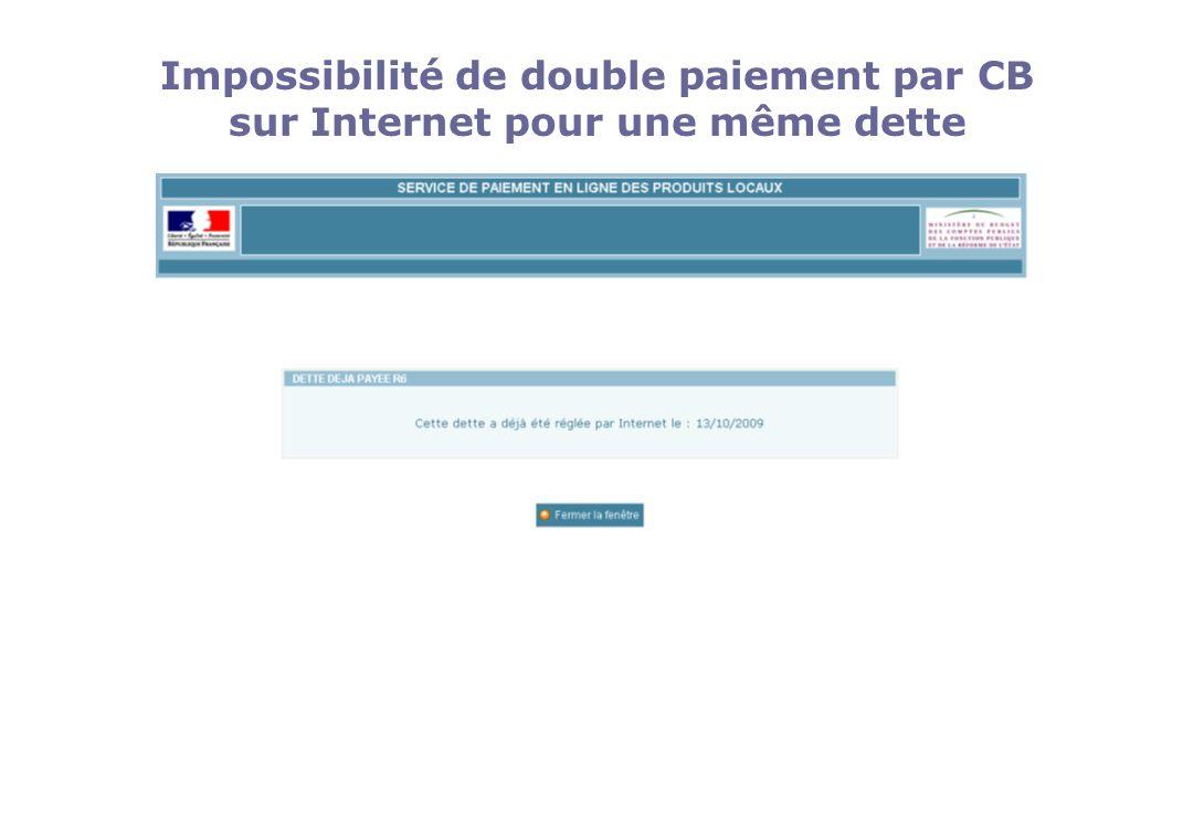 Impossibilité de double paiement par CB sur Internet pour une même dette