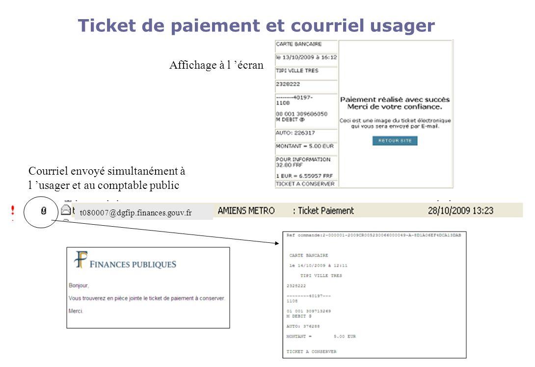 Ticket de paiement et courriel usager t080007@dgfip.finances.gouv.fr Affichage à l écran Courriel envoyé simultanément à l usager et au comptable publ
