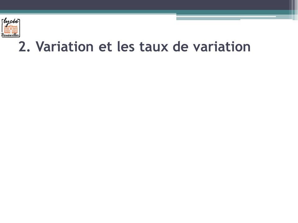 2. Variation et les taux de variation