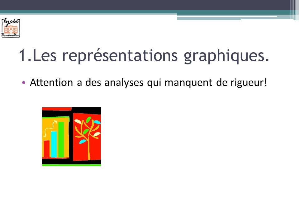 1.Les représentations graphiques. Attention a des analyses qui manquent de rigueur!