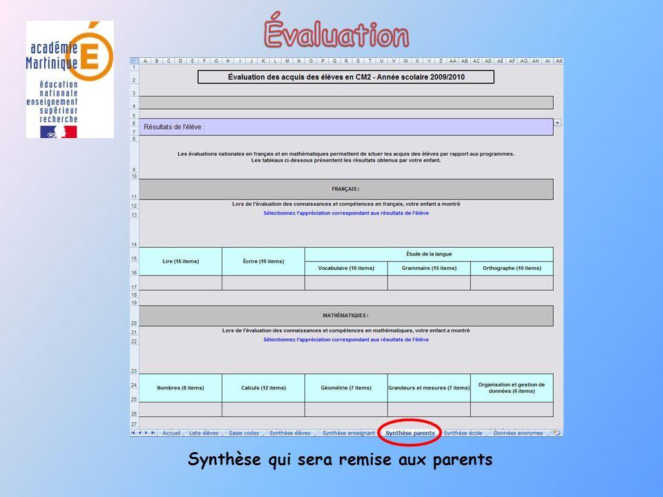 Synthèse qui sera remise aux parents
