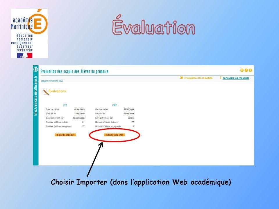 Choisir Importer (dans lapplication Web académique)