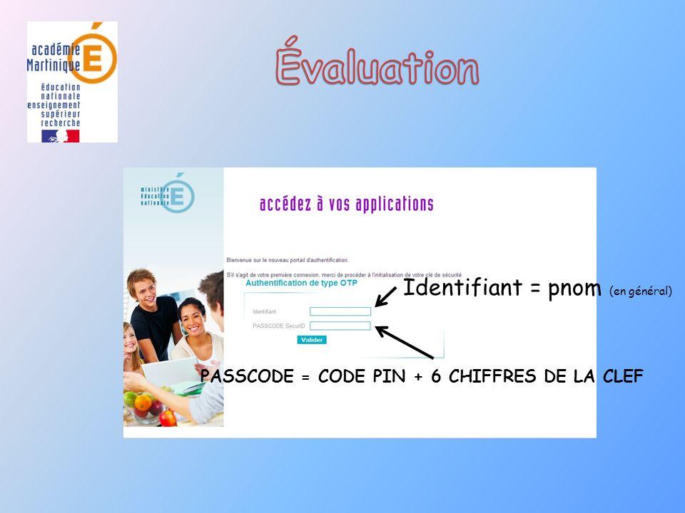 PASSCODE = CODE PIN + 6 CHIFFRES DE LA CLEF Identifiant = pnom (en général)