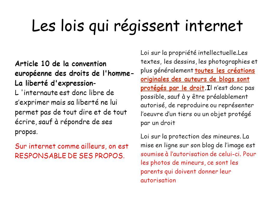 Les lois qui régissent internet Article 10 de la convention européenne des droits de l'homme- La liberté d'expression- L 'internaute est donc libre de