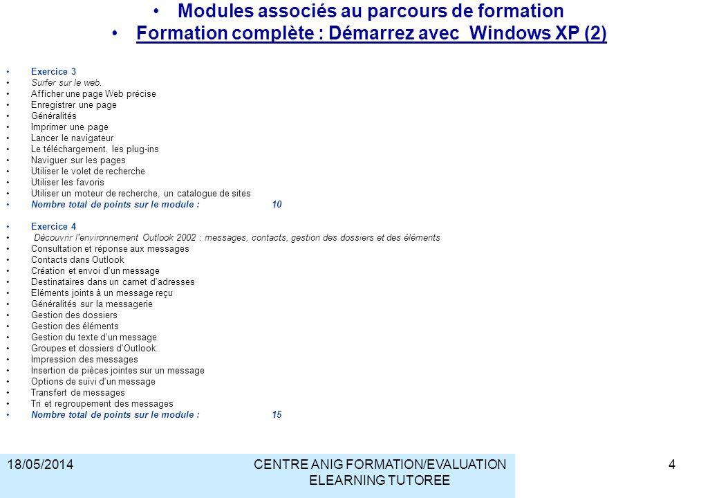 18/05/2014CENTRE ANIG FORMATION/EVALUATION ELEARNING TUTOREE Modules associés au parcours de formation Formation complète : Démarrez avec Windows XP (2) Exercice 3 Surfer sur le web.