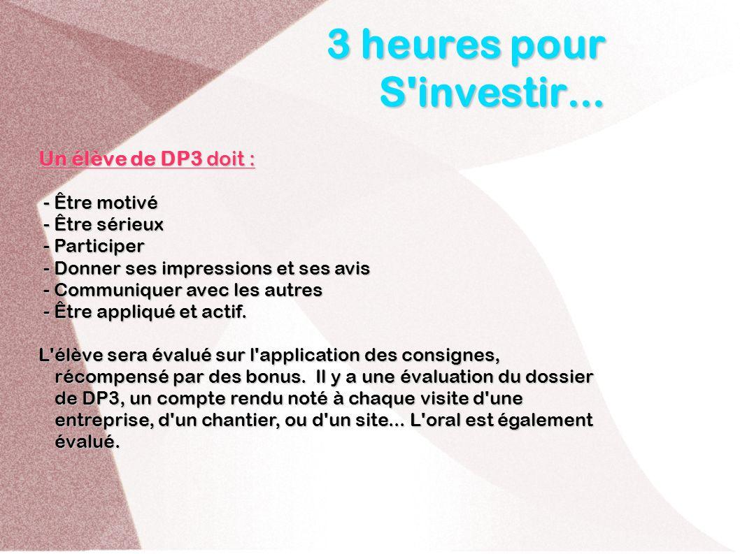 3 heures pour S'investir... Un élève de DP3 doit : - Être motivé - Être motivé - Être sérieux - Être sérieux - Participer - Participer - Donner ses im