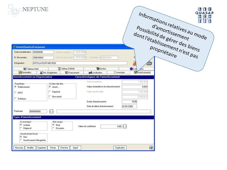 NEPTUNE Informations relatives au mode damortissement Possibilité de gérer des biens dont létablissement nest pas propriétaire