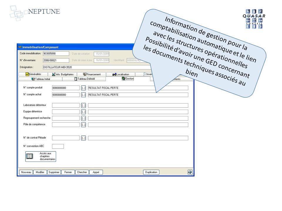 NEPTUNE Information de gestion pour la comptabilisation automatique et le lien avec les structures opérationnelles Possibilité davoir une GED concerna