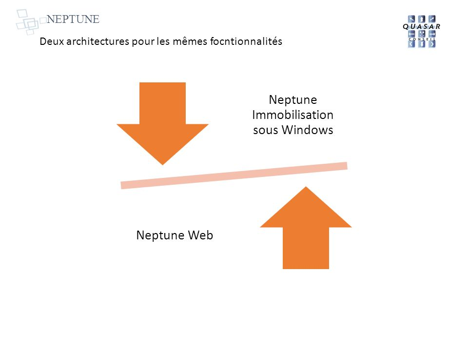 Neptune Immobilisation sous Windows Neptune Web Deux architectures pour les mêmes focntionnalités