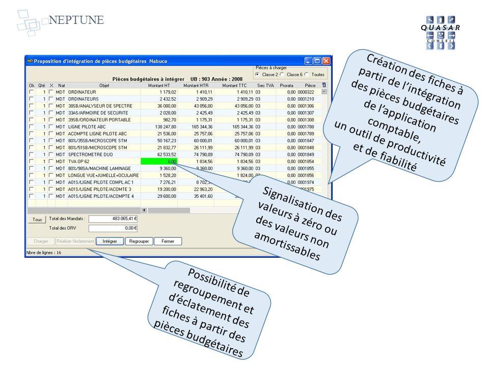 NEPTUNE Création des fiches à partir de lintégration des pièces budgétaires de lapplication comptable, un outil de productivité et de fiabilité Possib