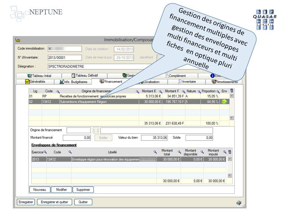 NEPTUNE Gestion des origines de financement multiples avec gestion des enveloppes multi financeurs et multi fiches en optique pluri annuelle