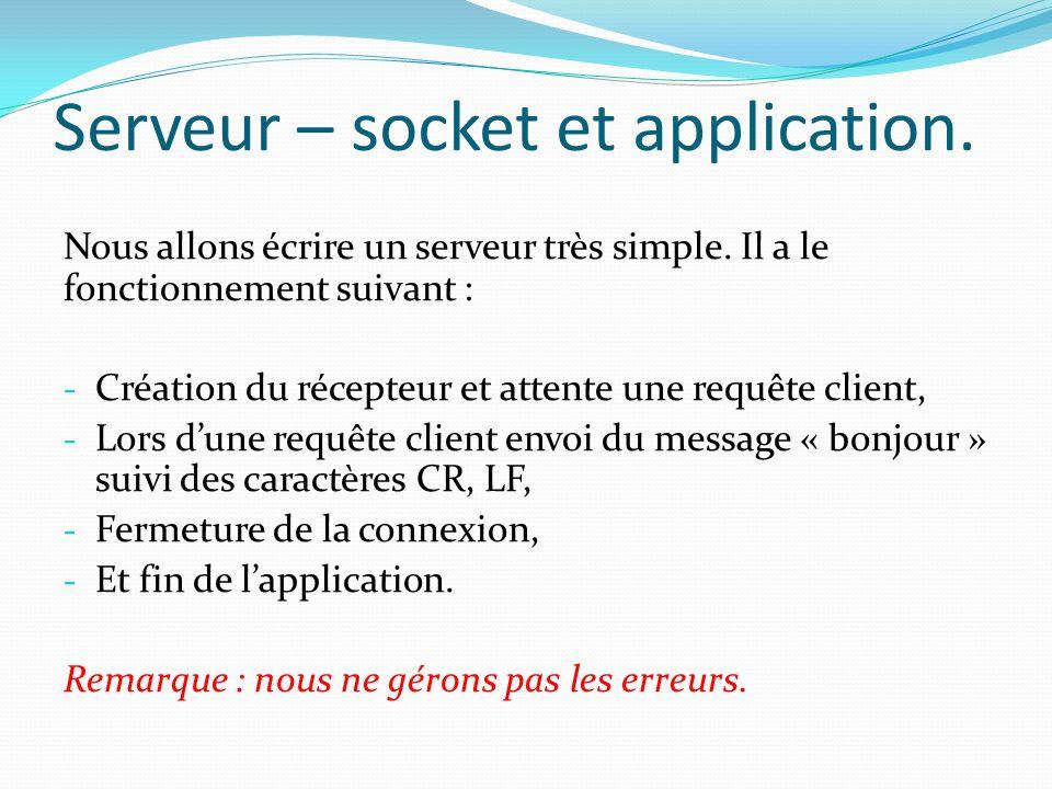 Serveur – socket et application.Nous allons écrire un serveur très simple.