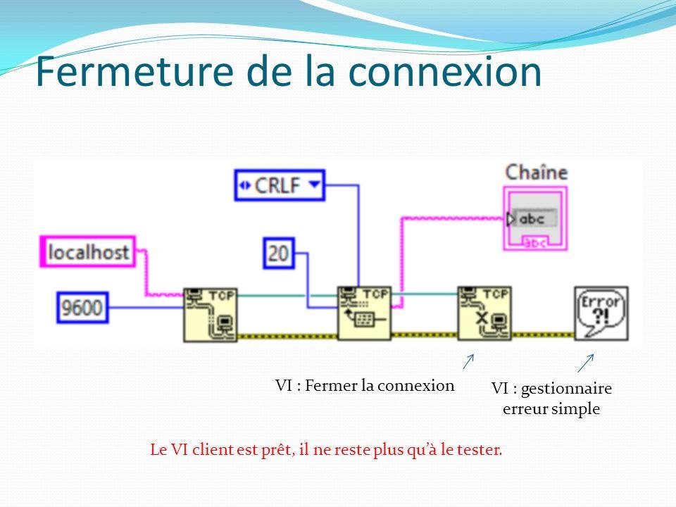Fermeture de la connexion Le VI client est prêt, il ne reste plus quà le tester.
