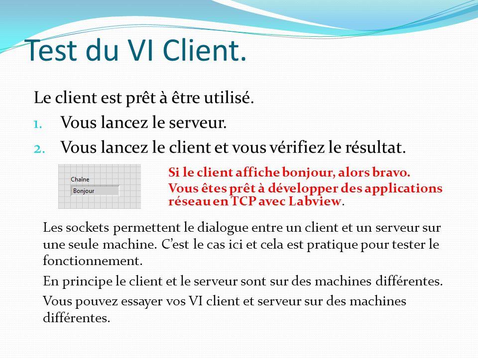 Test du VI Client.Si le client affiche bonjour, alors bravo.