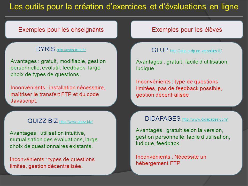 Les outils pour la création dexercices et dévaluations en ligne Exemples pour les enseignants DYRIS http://dyris.free.fr/ Avantages : gratuit, modifia