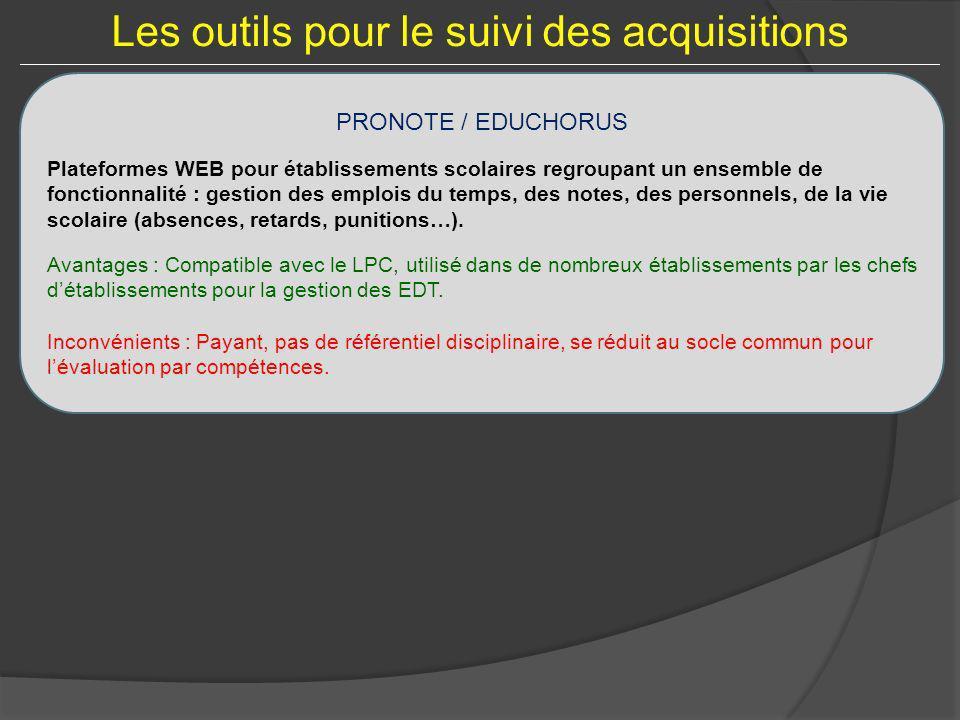 Les outils pour le suivi des acquisitions PRONOTE / EDUCHORUS Plateformes WEB pour établissements scolaires regroupant un ensemble de fonctionnalité :