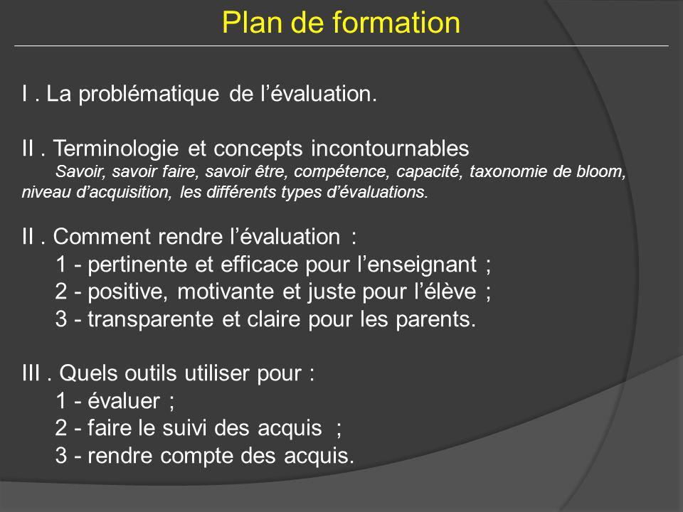 I. La problématique de lévaluation. II. Terminologie et concepts incontournables Savoir, savoir faire, savoir être, compétence, capacité, taxonomie de