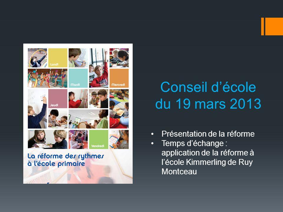 Conseil décole du 19 mars 2013 Présentation de la réforme Temps déchange : application de la réforme à lécole Kimmerling de Ruy Montceau