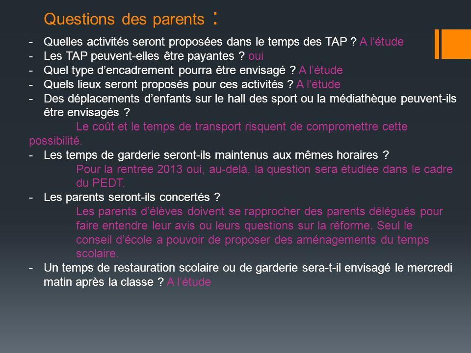 Questions des parents : -Quelles activités seront proposées dans le temps des TAP ? A létude -Les TAP peuvent-elles être payantes ? oui -Quel type den