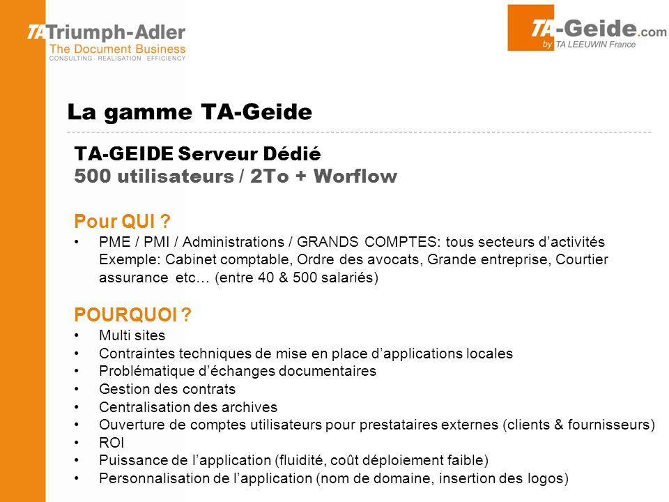 TA-GEIDE Serveur Dédié 500 utilisateurs / 2To + Worflow Pour QUI .