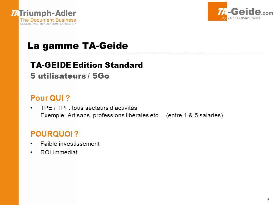 TA-GEIDE Edition Pro 5 utilisateurs / 15Go Pour QUI .