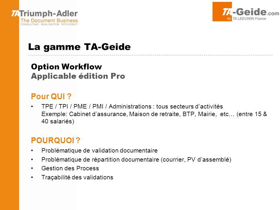 Option Workflow Applicable édition Pro Pour QUI .