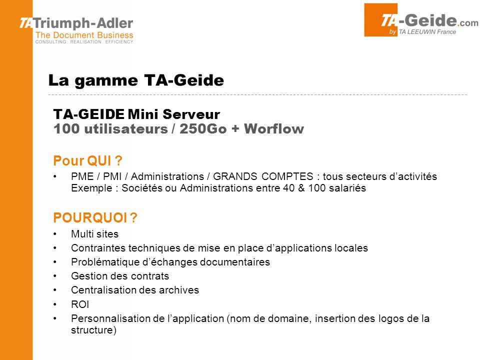 TA-GEIDE Mini Serveur 100 utilisateurs / 250Go + Worflow Pour QUI .
