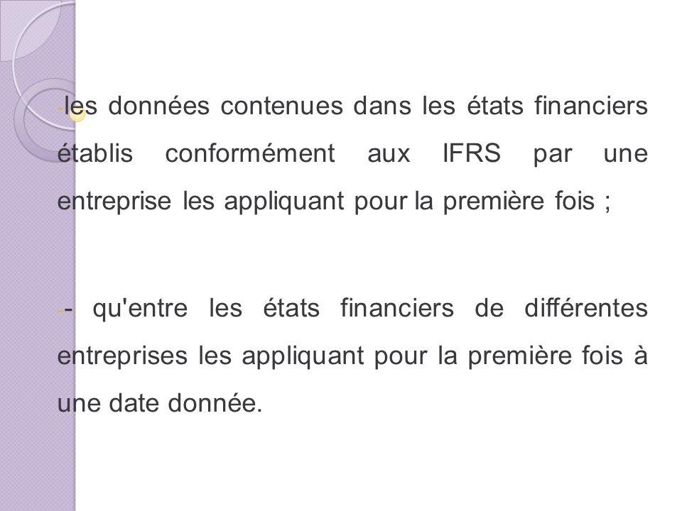 - les données contenues dans les états financiers établis conformément aux IFRS par une entreprise les appliquant pour la première fois ; - - qu entre les états financiers de différentes entreprises les appliquant pour la première fois à une date donnée.