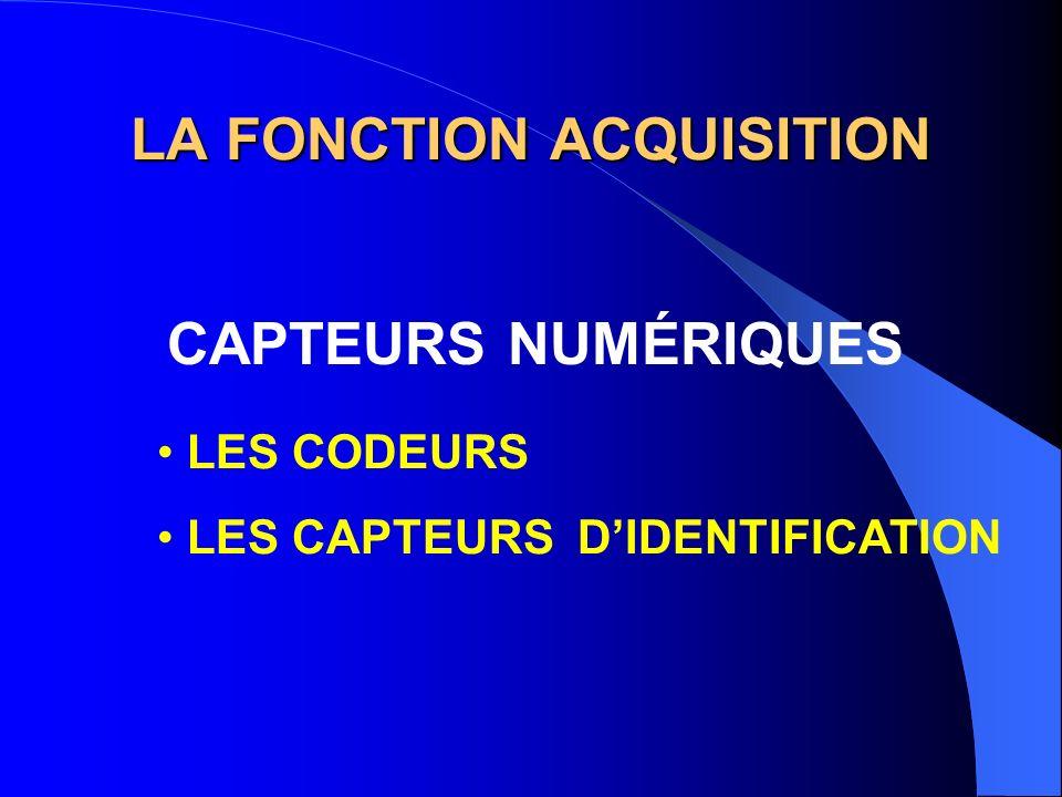 LA FONCTION ACQUISITION CAPTEURS NUMÉRIQUES LES CODEURS LES CAPTEURS DIDENTIFICATION
