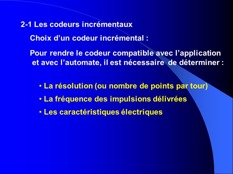 Choix dun codeur incrémental : Pour rendre le codeur compatible avec lapplication et avec lautomate, il est nécessaire de déterminer : La résolution (