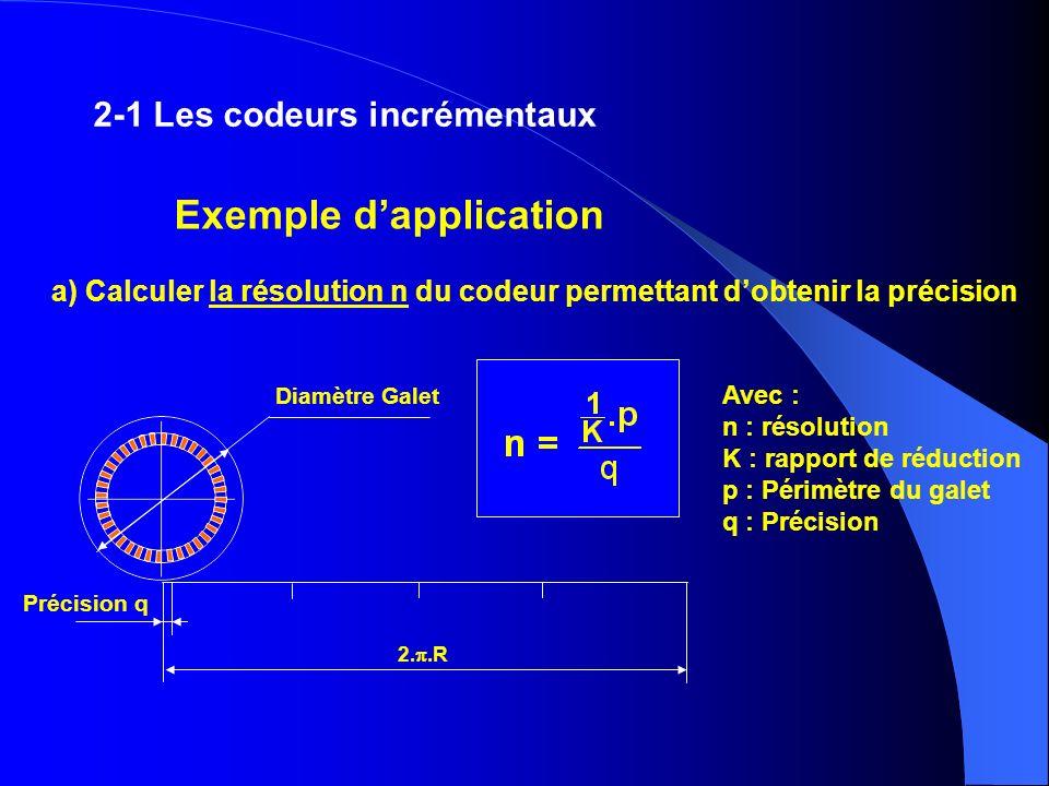 2-1 Les codeurs incrémentaux a) Calculer la résolution n du codeur permettant dobtenir la précision Avec : n : résolution K : rapport de réduction p :