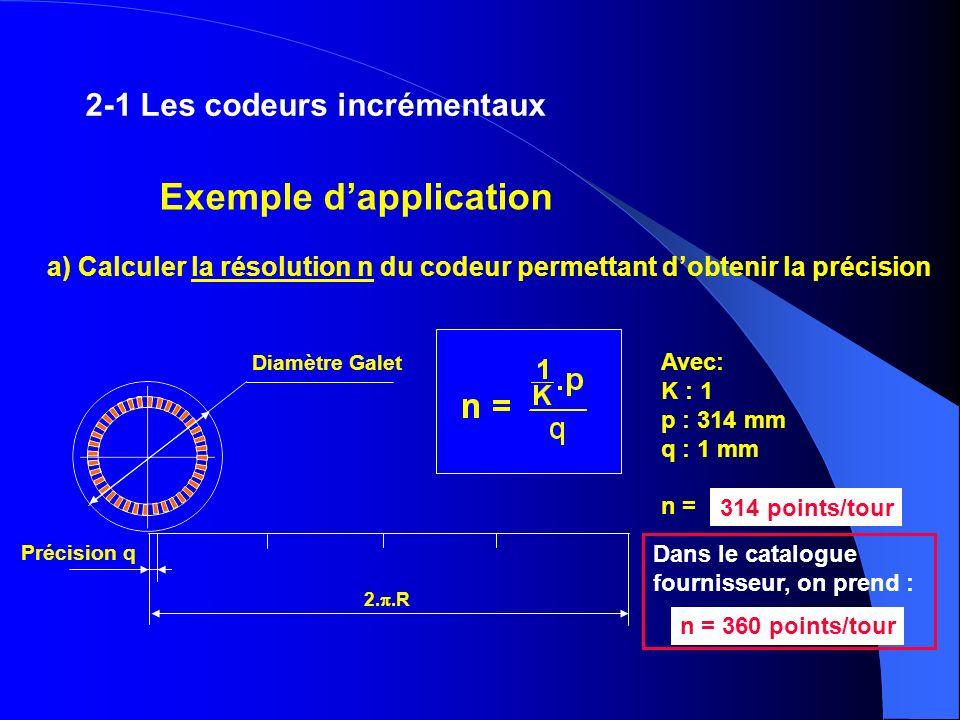 a) Calculer la résolution n du codeur permettant dobtenir la précision Avec: K : 1 p : 314 mm q : 1 mm n = 314 points/tour Dans le catalogue fournisse