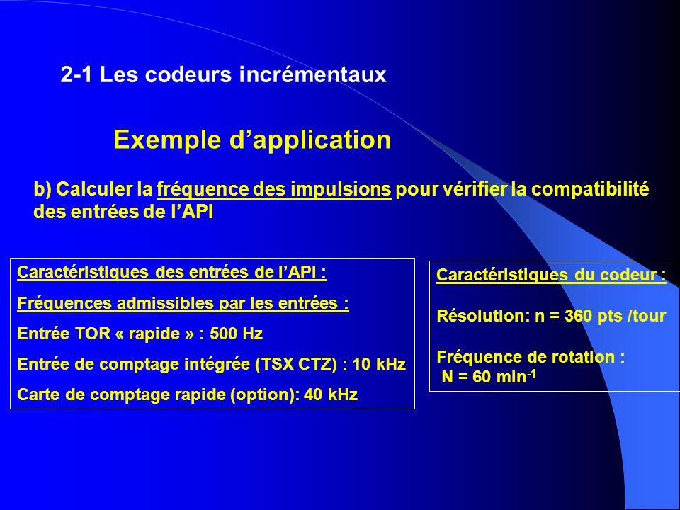 Caractéristiques des entrées de lAPI : Fréquences admissibles par les entrées : Entrée TOR « rapide » : 500 Hz Entrée de comptage intégrée (TSX CTZ) :