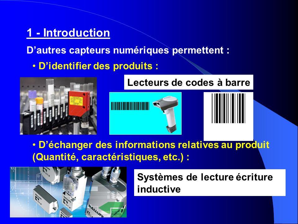 Dautres capteurs numériques permettent : Didentifier des produits : Déchanger des informations relatives au produit (Quantité, caractéristiques, etc.)