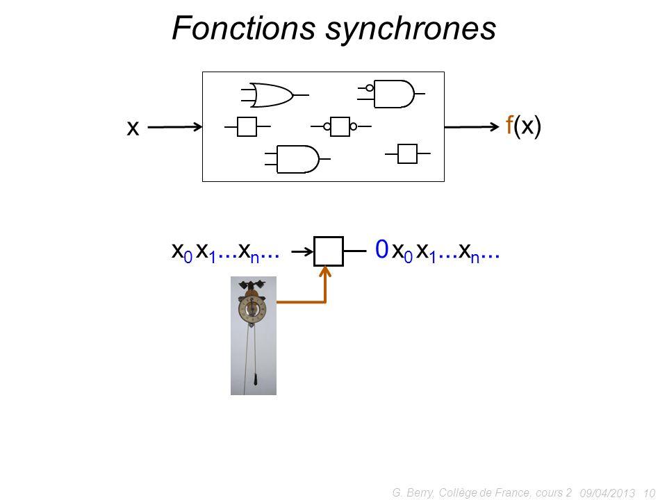 09/04/2013 10 G.Berry, Collège de France, cours 2 Fonctions synchrones x f(x) x 0 x 1...x n...