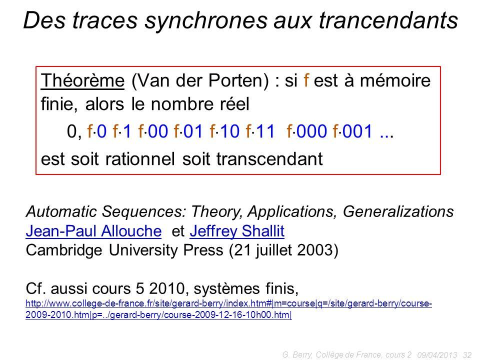 Théorème (Van der Porten) : si f est à mémoire finie, alors le nombre réel 0, f 0 f 1 f 00 f 01 f 10 f 11 f 000 f 001...