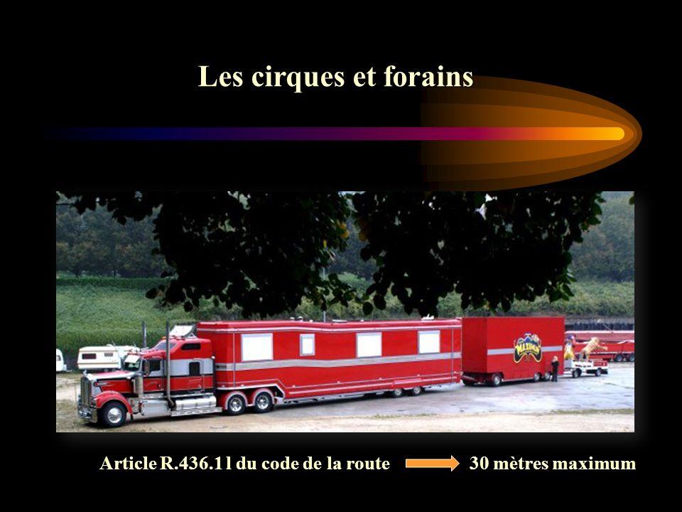 Le véhicule Les cirques et forains Article R.436.1 l du code de la route 30 mètres maximum