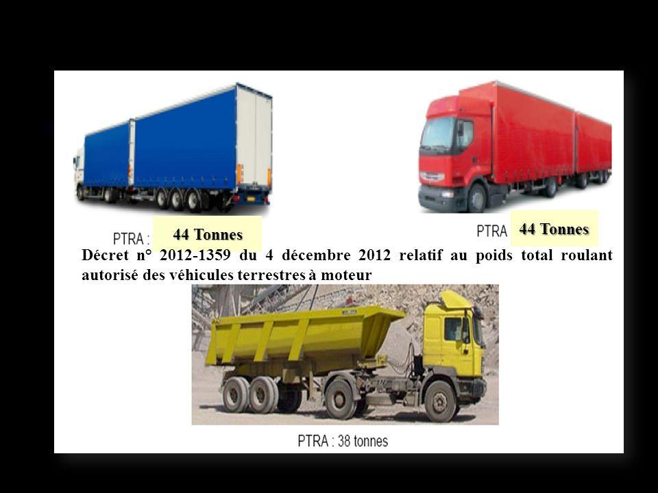 44 Tonnes Décret n° 2012-1359 du 4 décembre 2012 relatif au poids total roulant autorisé des véhicules terrestres à moteur