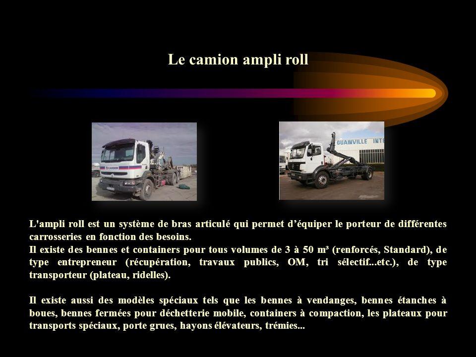 Le camion ampli roll L'ampli roll est un système de bras articulé qui permet déquiper le porteur de différentes carrosseries en fonction des besoins.