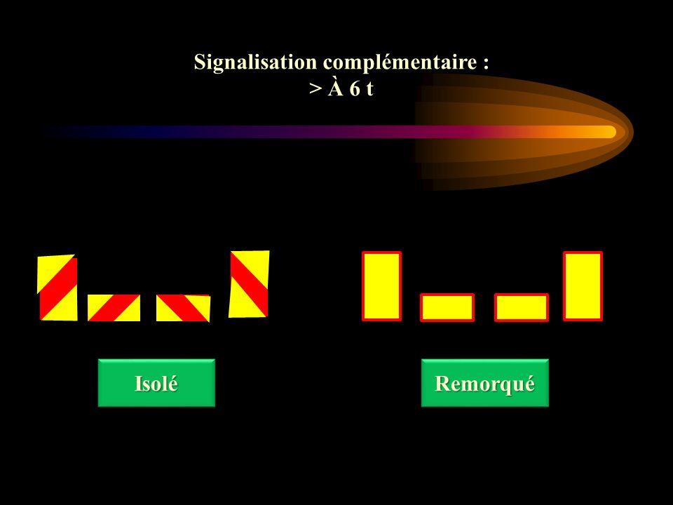 Signalisation complémentaire : > À 6 t Signalisation complémentaire : > À 6 t IsoléIsoléRemorquéRemorqué