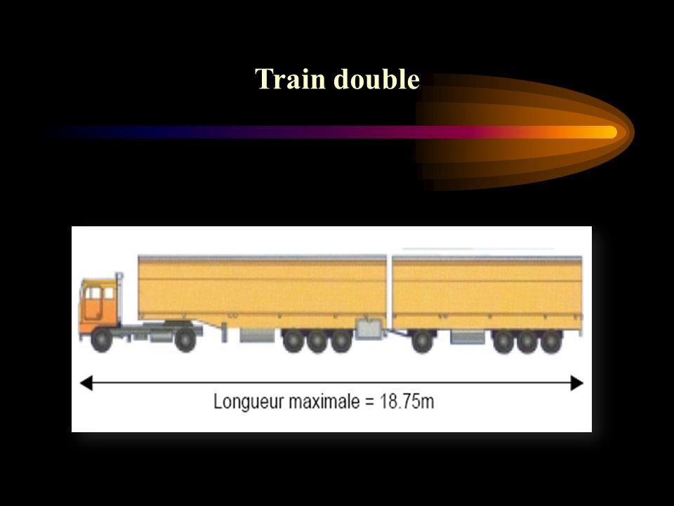 Réglementation relative au PTRA : Le PTRA d un véhicule articulé d un ensemble composé d un véhicule à moteur et d une remorque d un train double, ne doit pas dépasser : 38 tonnes, si l ensemble considéré ne comporte pas plus de 4 essieux.