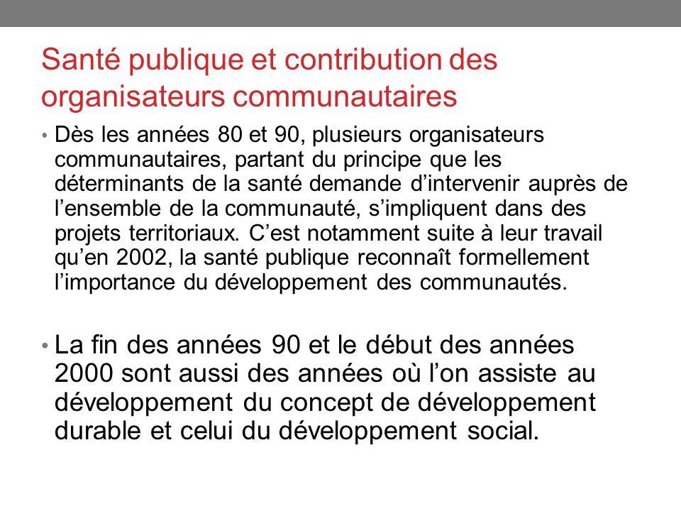 Santé publique et contribution des organisateurs communautaires Dès les années 80 et 90, plusieurs organisateurs communautaires, partant du principe q
