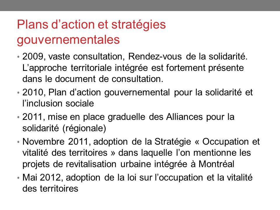 Plans daction et stratégies gouvernementales 2009, vaste consultation, Rendez-vous de la solidarité. Lapproche territoriale intégrée est fortement pré
