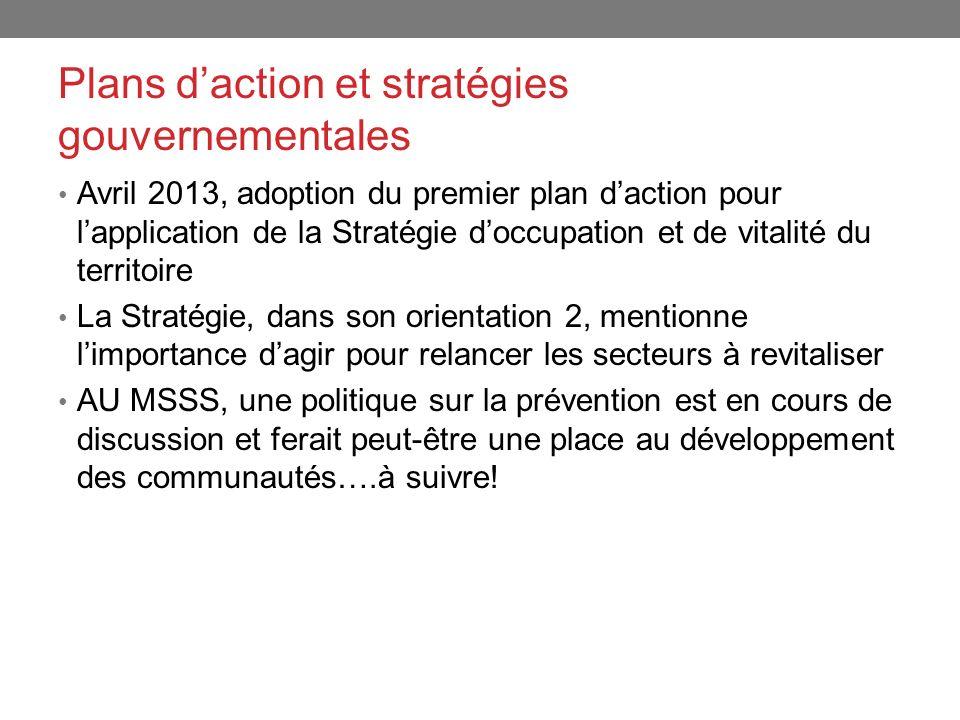 Plans daction et stratégies gouvernementales Avril 2013, adoption du premier plan daction pour lapplication de la Stratégie doccupation et de vitalité