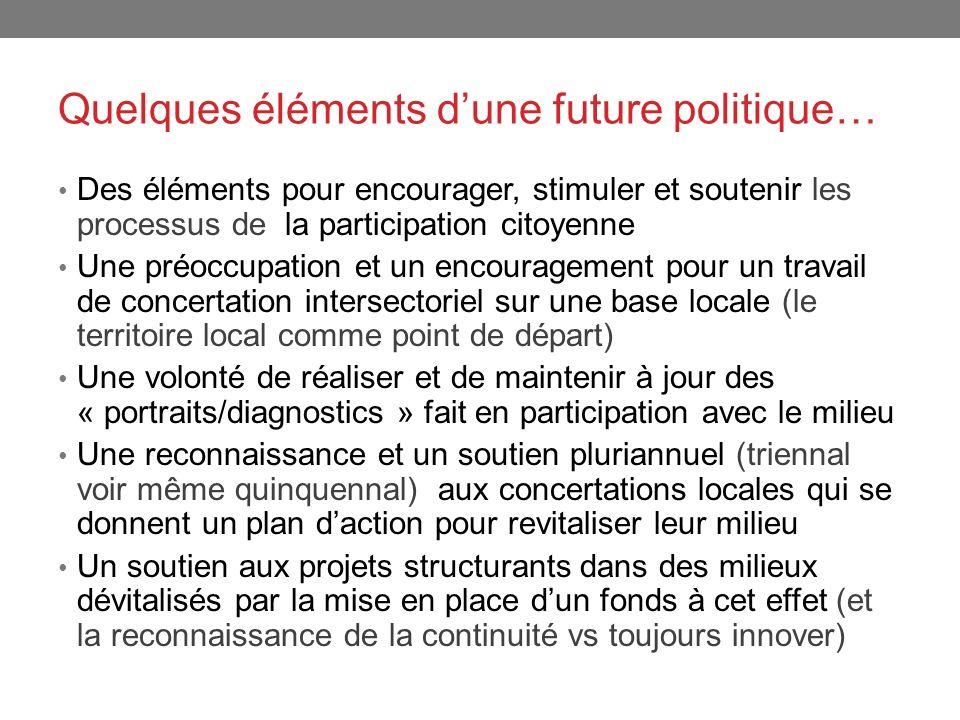 Quelques éléments dune future politique… Des éléments pour encourager, stimuler et soutenir les processus de la participation citoyenne Une préoccupat