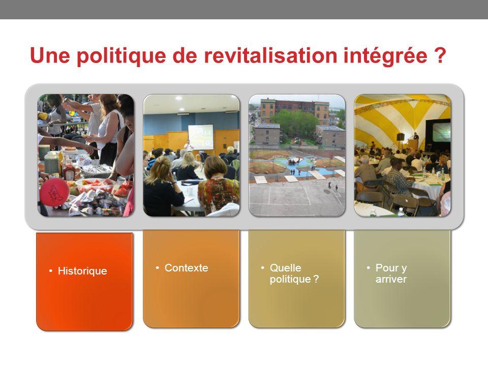 Une politique de revitalisation intégrée ? Historique ContexteQuelle politique ? Pour y arriver
